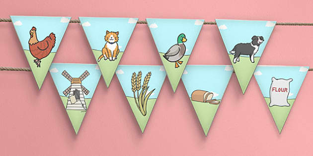The Little Red Hen Bunting - Little, Red, Hen, Bunting, Display