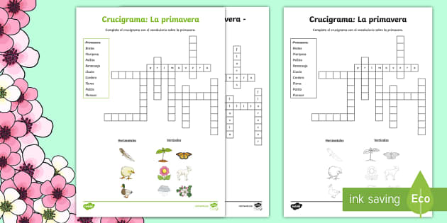 Spring Vocabulary Crossword Spanish - Spring, KS2, Spanish, MFL