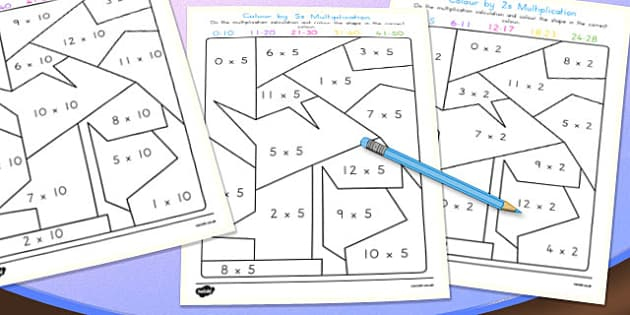 Colour by 2s, 5s, 10s Multiplication Pack - australia, colour, 5s, 2s, 10s, multiplication, maths
