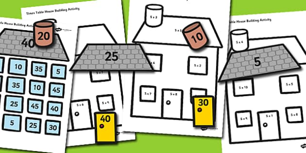 Times Table Active Picture Building Activity House - time table