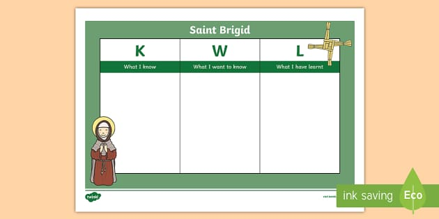 St. Brigid KWL Grid-Irish - ROI St. Brigid's Day, Ireland, Saint Brigid, February 1st, KWL Grid,Irish