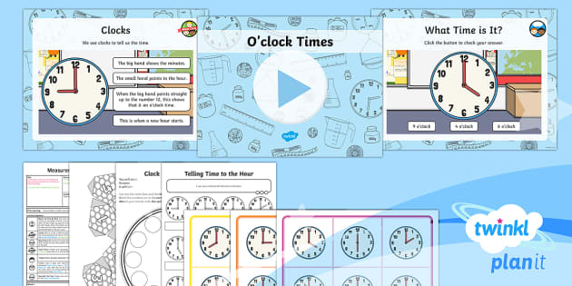 PlanIt Y1 Measurement Lesson Pack Telling the Time (1) - Measurement, measures, telling the time, tell the time, analogue clock, clock, telling time to the h