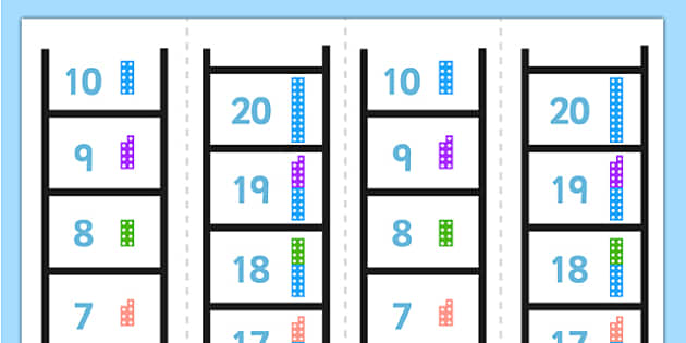 Number Ladder 0-20 Counting Number Shapes - number ladder, 0-20, counting, number shapes