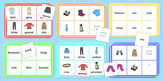 Éadaí Bingo - bingo, gaeilge, irish, subjects, activity, eadai