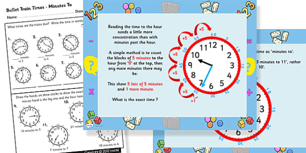 Telling the Time Exact Minutes to Task Setter Powerpoint and Worksheets - telling the time, time, minutes, task setter, powerpoint, worksheets, numeracy