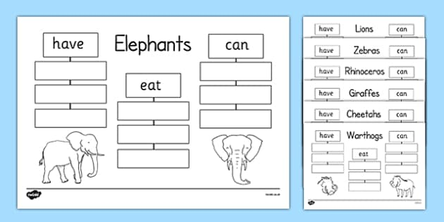 Safari Animals Have Eat Can Writing Frames - safari animals, have, eat, can, writing frames