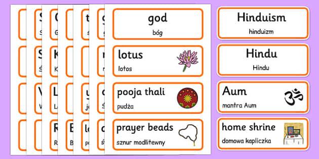 Hinduism Word Cards Polish Translation - polish, hinduism, word cards, word, cards