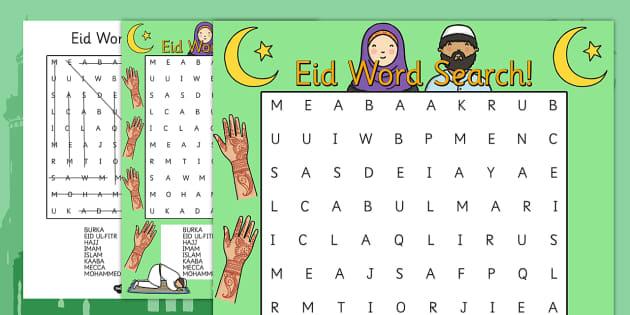 Eid Word Search - eid, word search, keywords, celebration, religion