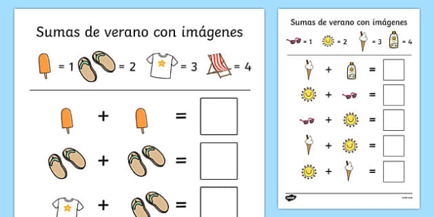 Sumas de verano con imágenes Summer-Themed Addition with Pictures Activity Sheets Spanish - summer, addition, pictures, activity, sheet,+,adition,additio, additon, summertime, Timw, worksheet