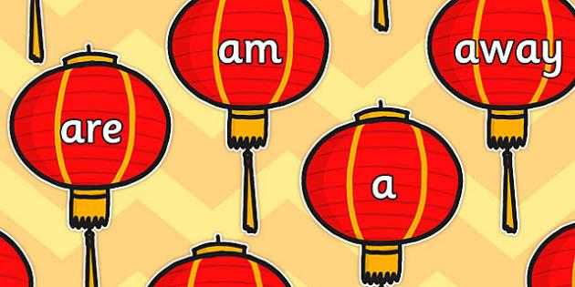 Foundation Stage 2 Keywords on Chinese Lanterns - chinese lanterns
