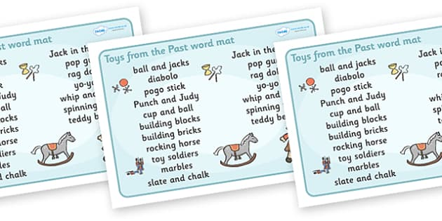 Toys from the Past Word Mat (Text) - Toys, word mat, writing aid, Jack in the box, diabolo, jacks, pop gun, skittles, spinning top, marbles, pogo, doll