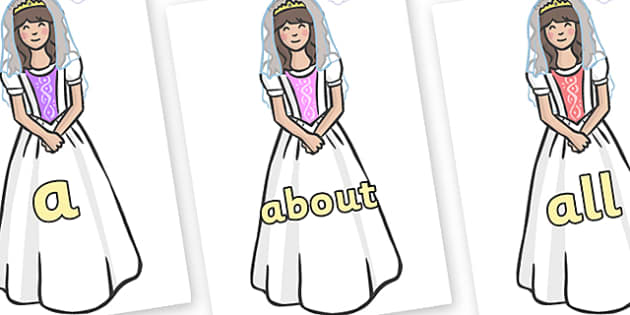 100 High Frequency Words on Princesses - High frequency words, hfw, DfES Letters and Sounds, Letters and Sounds, display words