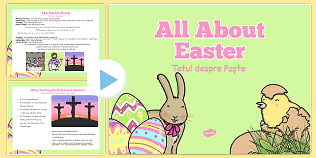EYFS All About Easter PowerPoint Romanian Translation - romanian, easter, information, eyfs, all about easter, powerpoint