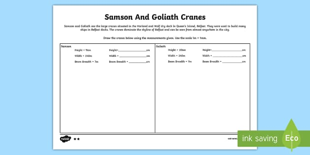 Samson and Goliath Measure and Draw Differentiated Activity Sheets - World Around Us,  KS2, Northern Ireland, belfast, cranes, samson, goliath, industry, maths, measures