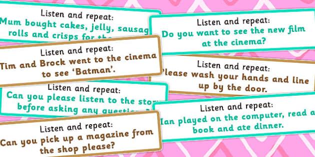 Listen and Repeat 10 11 Word Length Sentence Cards Set 2 - listen