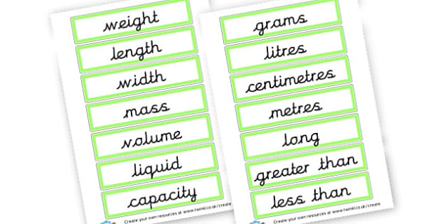 Measures Labels - KS2 Shape Space and Measure Primary Resources, Shape, Space, KS2