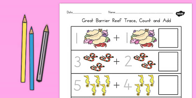 Great Barrier Reef Trace Count and Add Worksheet - australia