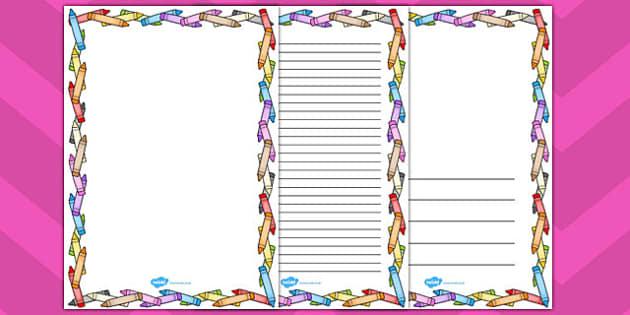 Crayon Page Borders - crayon, page, borders, page borders, sheet