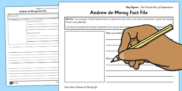 Andrew de Moray Key Figures Fact File Template - fact file, key