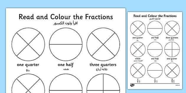 Year 1 Read and Colour a Fraction Arabic Translation - arabic, fractions, colours, reading