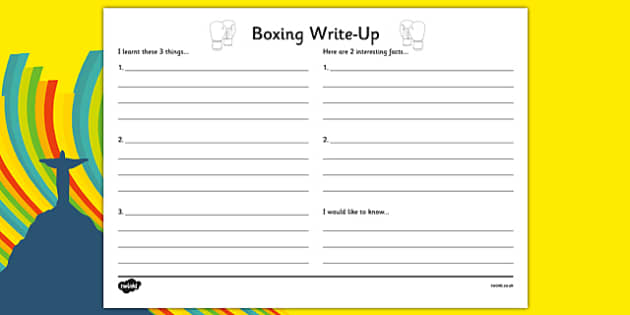 The Olympics Boxing Write Up Worksheet - the olympics, rio 2016, rio olympics, 2016 olympics, boxing, write up