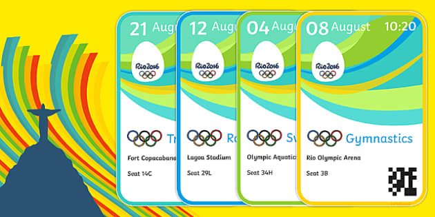 Rio 2016 Editable Event Ticket Templates - rio 2016 olympics, editable, event tickets, templates