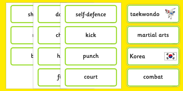 The Olympics Taekwondo Word Cards - Taekwondo, Olympics, Olympic Games, sports, Olympic, London, 2012, word card, flashcards, cards, activity, Olympic torch, events, flag, countries, medal, Olympic Rings, mascots, flame, compete