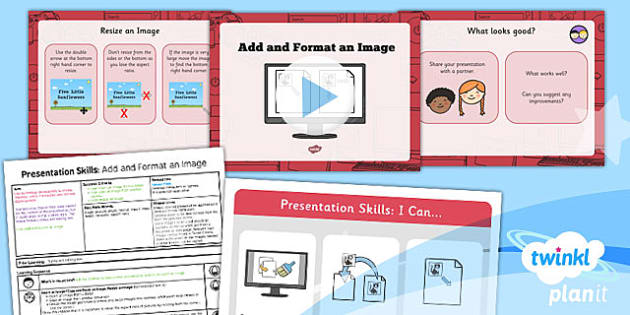 PowerPoint Presentation Skills: Add and Format an Image - Year 2 Computing Lesson Pack