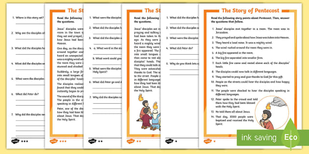 Pentecost Differentiated Comprehension Activity Sheet border=