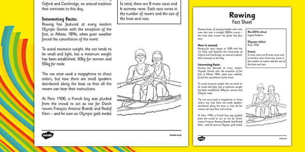 The Olympics Rowing Fact Sheet - Rio, events, Olympic, row, information, facts