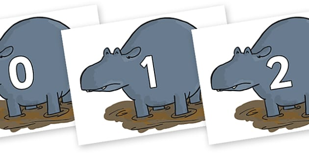 Numbers 0-100 on Humpy Rumpy Hippopotamus to Support Teaching on The Enormous Crocodile - 0-100, foundation stage numeracy, Number recognition, Number flashcards, counting, number frieze, Display numbers, number posters