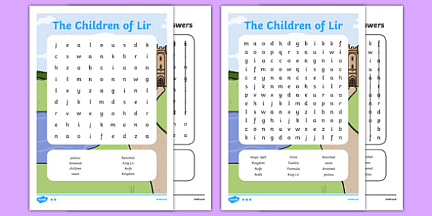 The Children of Lir Differentiated Word Search - Irish history, Irish story, Irish myth, Irish legends, The Children Of Lir, wordsearch