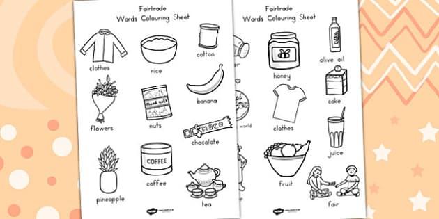 Fairtrade Words Colouring Sheets - colour, fair trade, food