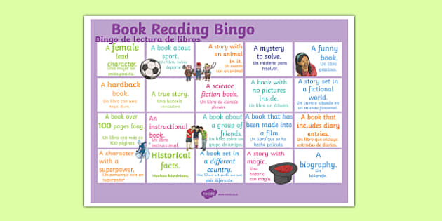 Book Reading Bingo A3 Display Poster Spanish Translation--translation