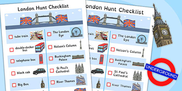 London Hunt Checklist - london, hunt, checklist, check, list