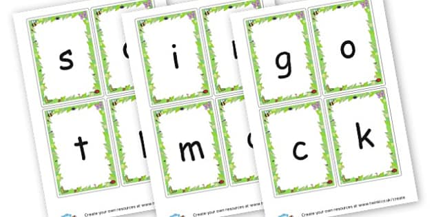 phase 2 Flash Cards (bug border) - Phase 2 Visual Aids Primary Resources, Phase One, Letters, sounds