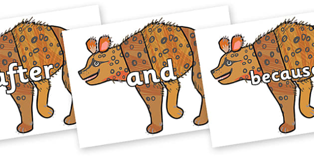 Connectives on Hyena to Support Teaching on The Bad Tempered Ladybird - Connectives, VCOP, connective resources, connectives display words, connective displays