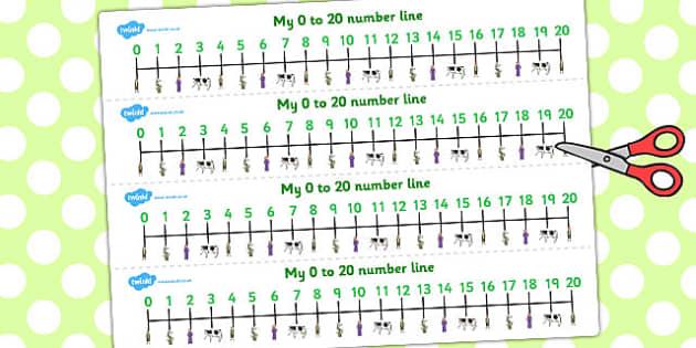 Jack and the Beanstalk Number Lines 0-20 - number line, jack