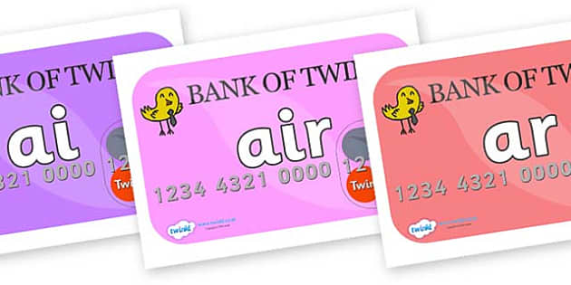 Phase 3 Phonemes on Debit Cards - Phonemes, phoneme, Phase 3, Phase three, Foundation, Literacy, Letters and Sounds, DfES, display