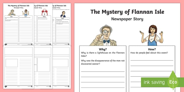 The Mystery of Flannan Isle Newspaper Writing Template-Scottish - CfE Literacy, writing, newspaper, functional, reporting, mystery, creative, imaginative,Scottish