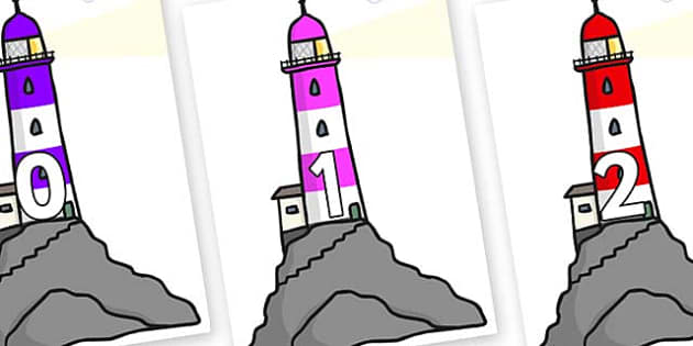 Numbers 0-31 on Lighthouses - 0-31, foundation stage numeracy, Number recognition, Number flashcards, counting, number frieze, Display numbers, number posters