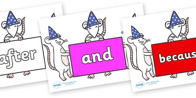 Connectives on Magic Mice - Connectives, VCOP, connective resources, connectives display words, connective displays