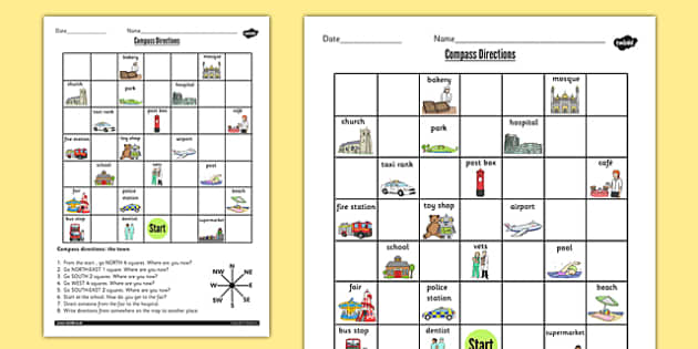 Compass Directions Worksheet - compass, directions, worksheet