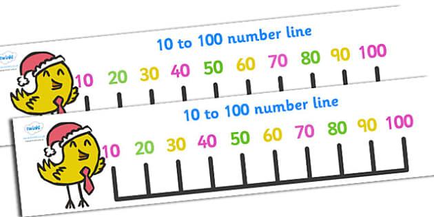 10-100 Christmas Number Line Banner - 10-100, numberline, banner