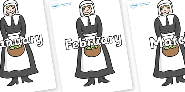 Months of the Year on Pilgrim - Months of the Year, Months poster, Months display, display, poster, frieze, Months, month, January, February, March, April, May, June, July, August, September