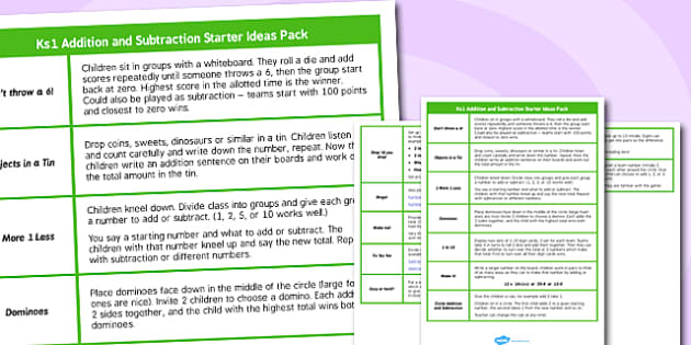 KS1 Addition and Subtraction Starter Ideas - ks1, starter ideas, ideas