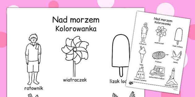 Kolorowanka Nad morzem po polsku - dla dzieci, przedszkole , Polish