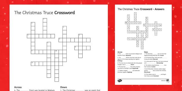 The Christmas Truce 1914 Crossword