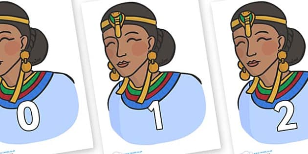 Numbers 0-31 on Egyptian Women - 0-31, foundation stage numeracy, Number recognition, Number flashcards, counting, number frieze, Display numbers, number posters