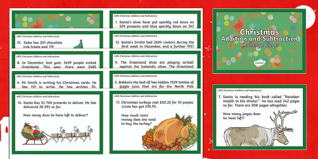 LKS2 Addition and Subtraction Christmas Challenge Cards